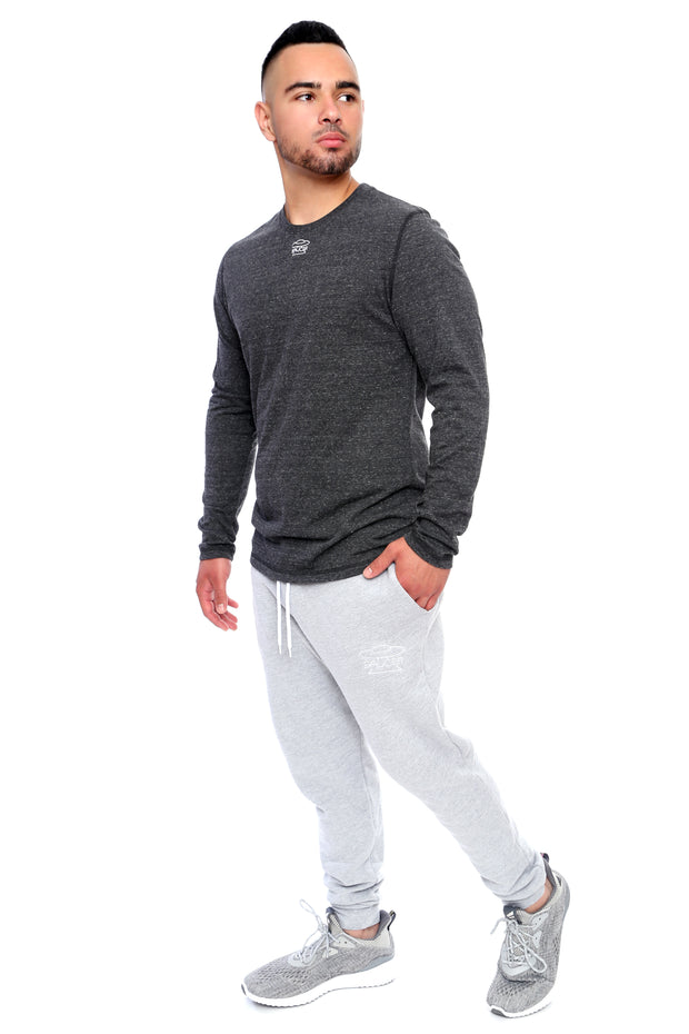 Charcoal Grey Long Sleeve Tee Full Model View