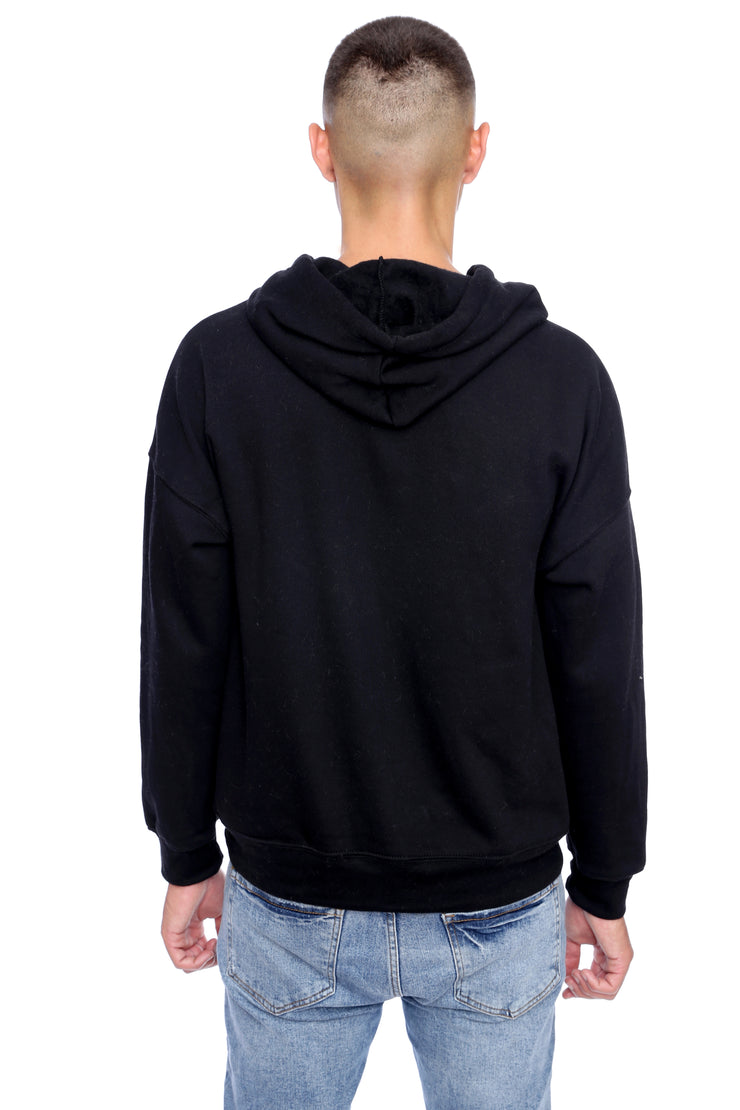 Pitch Black Pullover Hoodie Back View