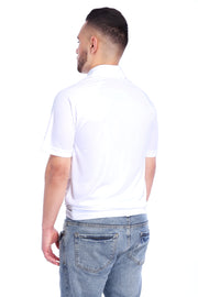 White Performance Polo Shirt Back View