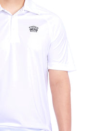 White Performance Polo Shirt Detail View