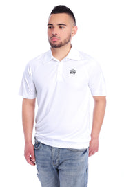 White Performance Polo Shirt Model View