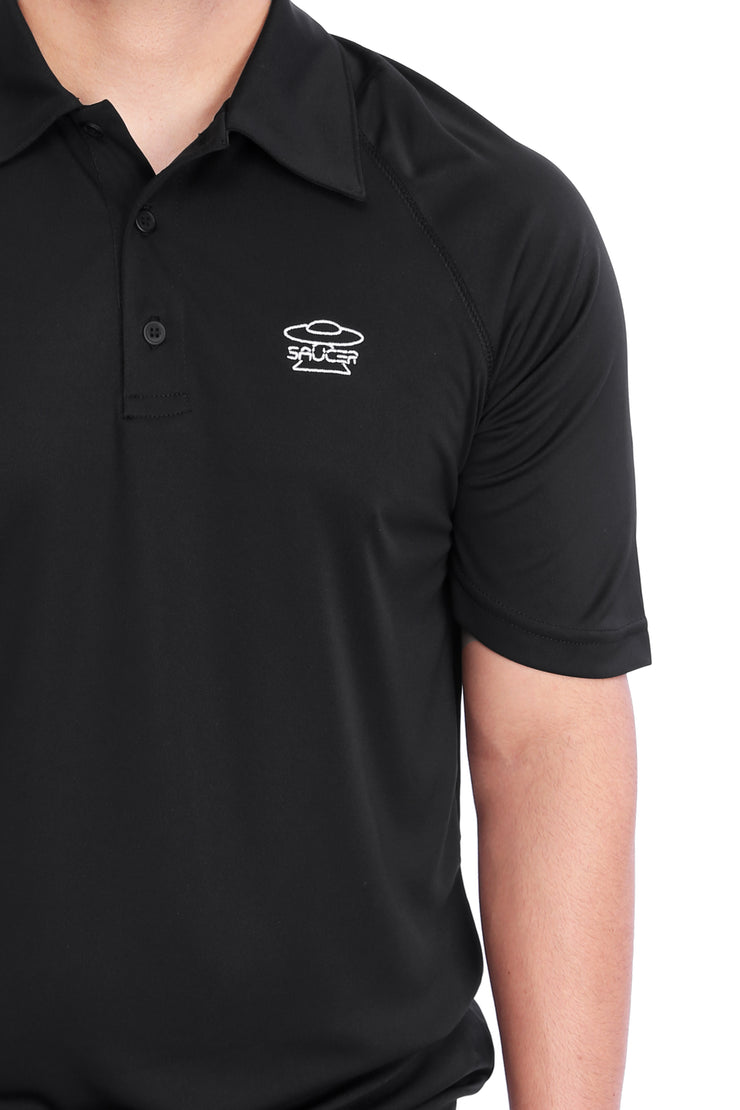 Black Performance Polo Shirt Detail View