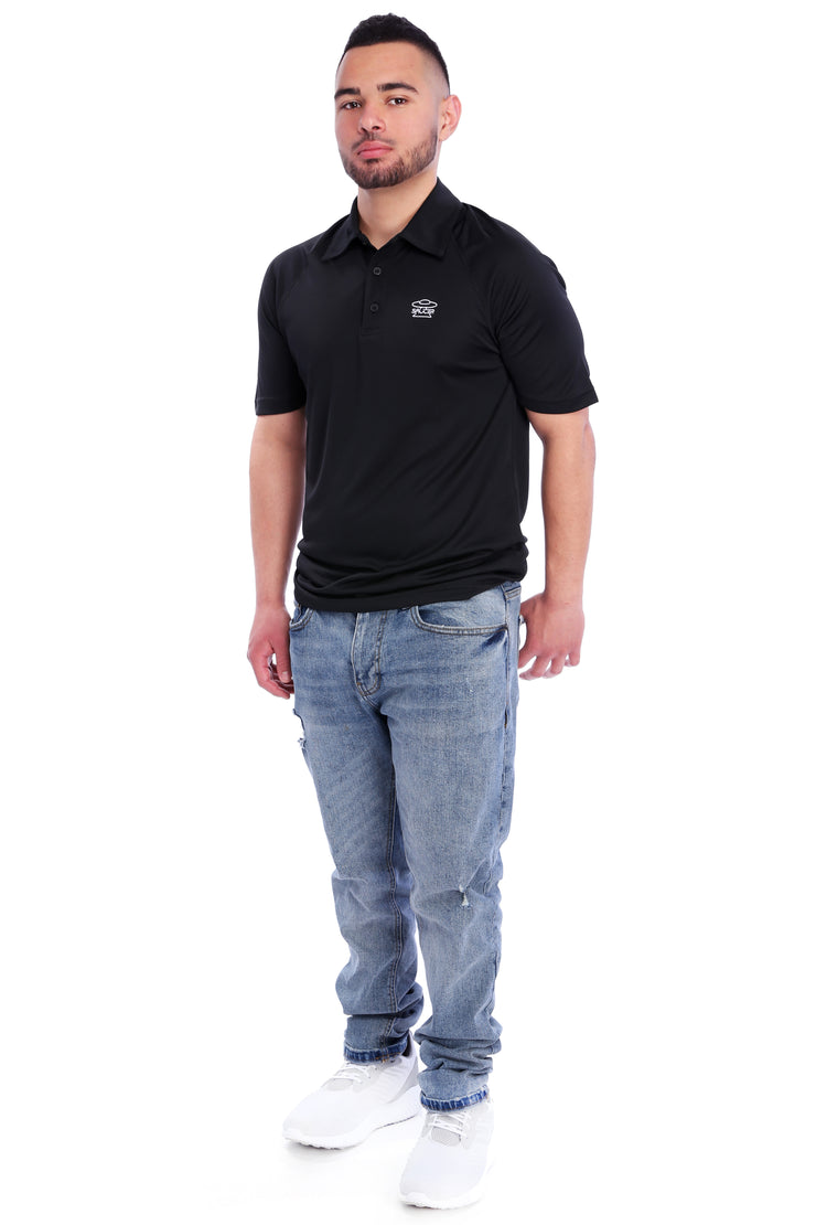 Black Performance Polo Shirt Full Model View