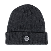 Saucer Shadow Grey Knit Logo Beanie Back