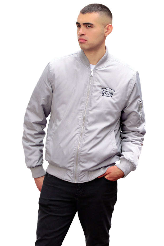 Saucer Metallic Bomber Jacket Model View
