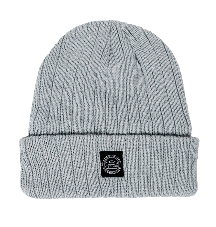 Saucer Light Silver Knit Logo Beanie Back
