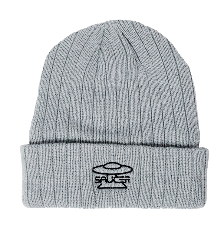 Saucer Light Silver Knit Logo Beanie