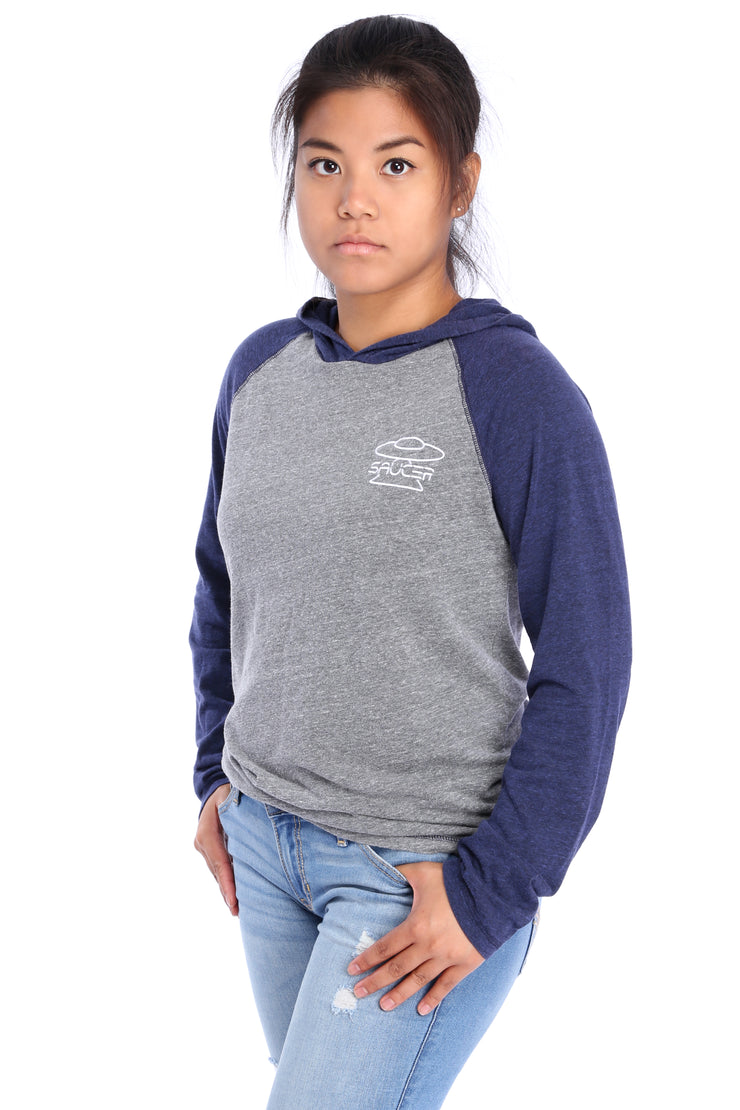 Navy/Grey Performance Hoodie Model View