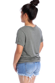 Military Green Raw Neck T-Shirt Back View
