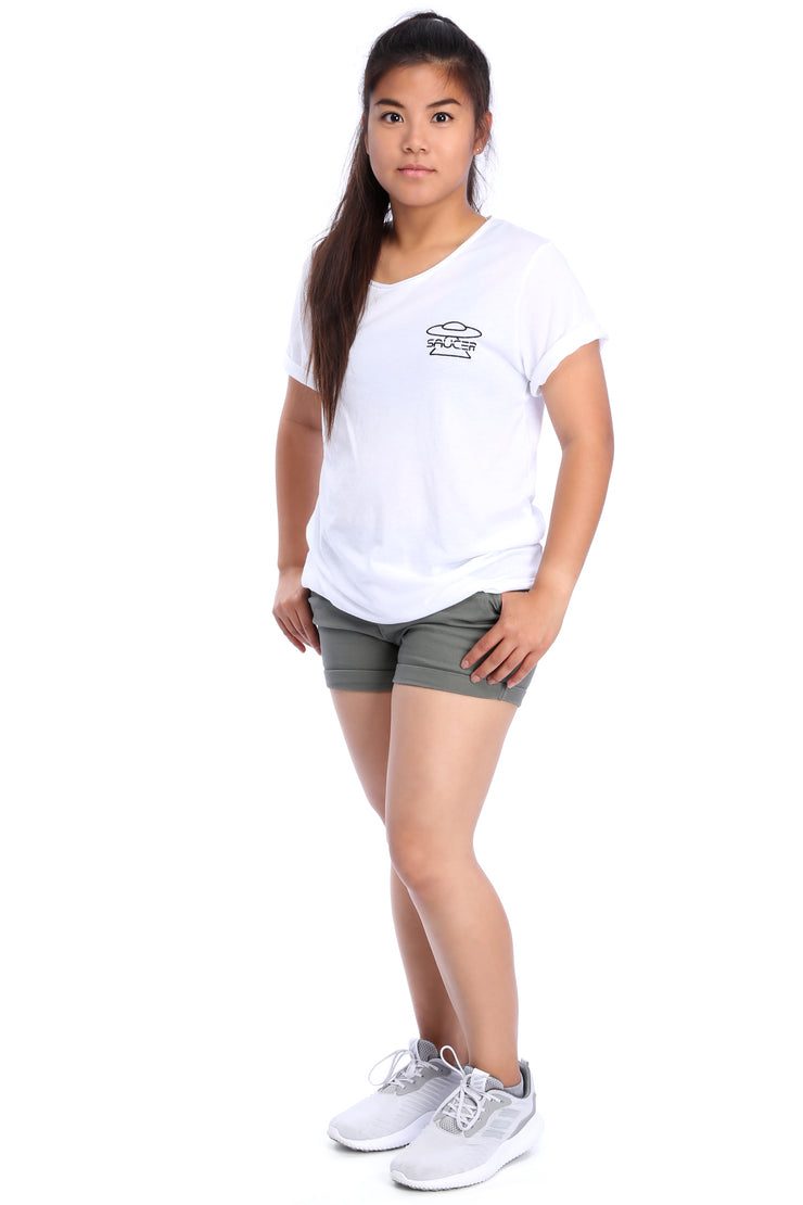 White Raw Neck T-Shirt Full Model View