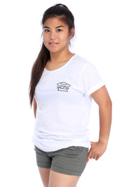 White Raw Neck T-Shirt Model View