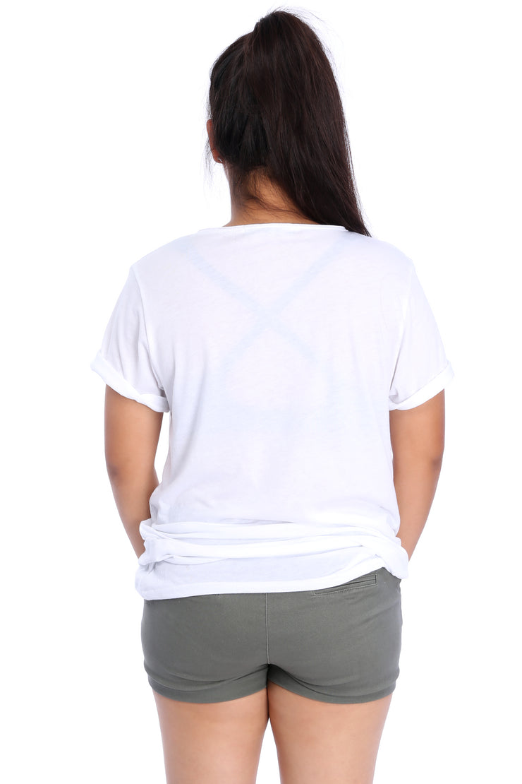 White Raw Neck T-Shirt Back View