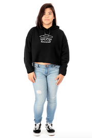 Black Cropped Pullover Hoodie Full Model View
