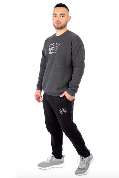 Charcoal Grey Pullover Crewneck Full Model View