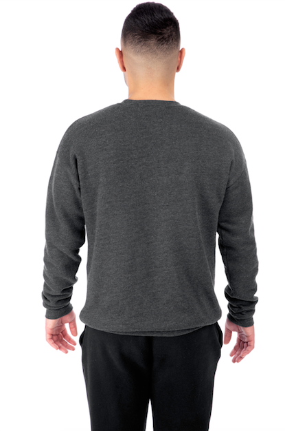 Charcoal Grey Pullover Crewneck Back View