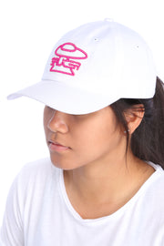 White Legendary Classic Hat (Pink Edition) Model View