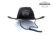 Black Saucer Trail Hat (Reflective) Front View