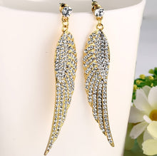 Load image into Gallery viewer, Earrings -Classic Angel wings shape with shiny rhinestones in gold color