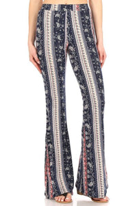 Amore Jewell Fashion Ladies' Pants - Soft Brushed PAISLEY BOHO Printed Flare Pants