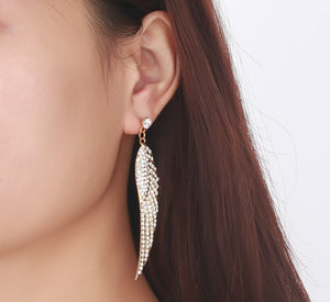Earrings -Classic Angel wings shape with shiny rhinestones in gold color