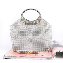 Load image into Gallery viewer, Fashion Ladies' bag - Big volume Gold Diamante Clutch in Silver color