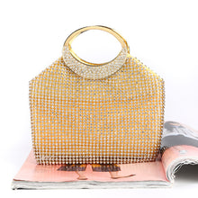 Load image into Gallery viewer, Fashion Ladies' bag - Big volume Gold Diamante Clutch in Gold color