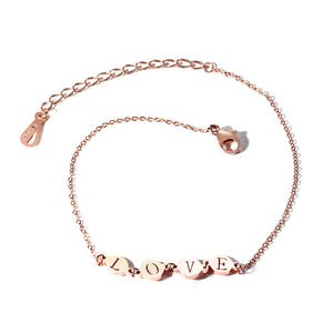 Fashion Jewelry - Anklets - Elegant Anklets Love design in rose gold color