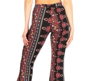 Amore Jewell Fashion Ladies' Pants - Soft Brushed Printed Flare Pants With Waist Tie