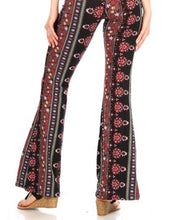 Load image into Gallery viewer, Amore Jewell Fashion Ladies' Pants - Soft Brushed Printed Flare Pants With Waist Tie