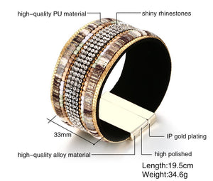 Bracelet - Modern and Fashion design in PU + Alloy material with shiny rhinestones.