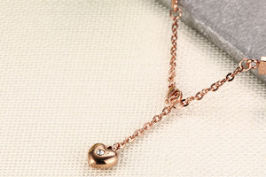 Bracelet - Elegant bracelet with shiny rhinestones extend chain with heart shape pendant in Rose gold color