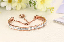 Load image into Gallery viewer, Bracelet - Elegant bracelet with shiny rhinestones extend chain with heart shape pendant in Rose gold color