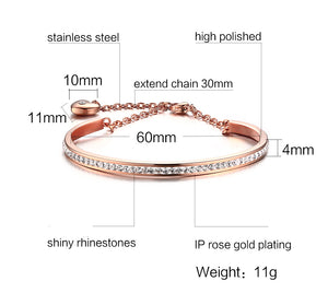 Bracelet - Elegant bracelet with shiny rhinestones extend chain with pendant in heart shape - rose gold color