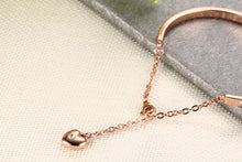 Load image into Gallery viewer, Bracelet - Elegant bracelet with shiny rhinestones extend chain with pendant in heart shape - rose gold color