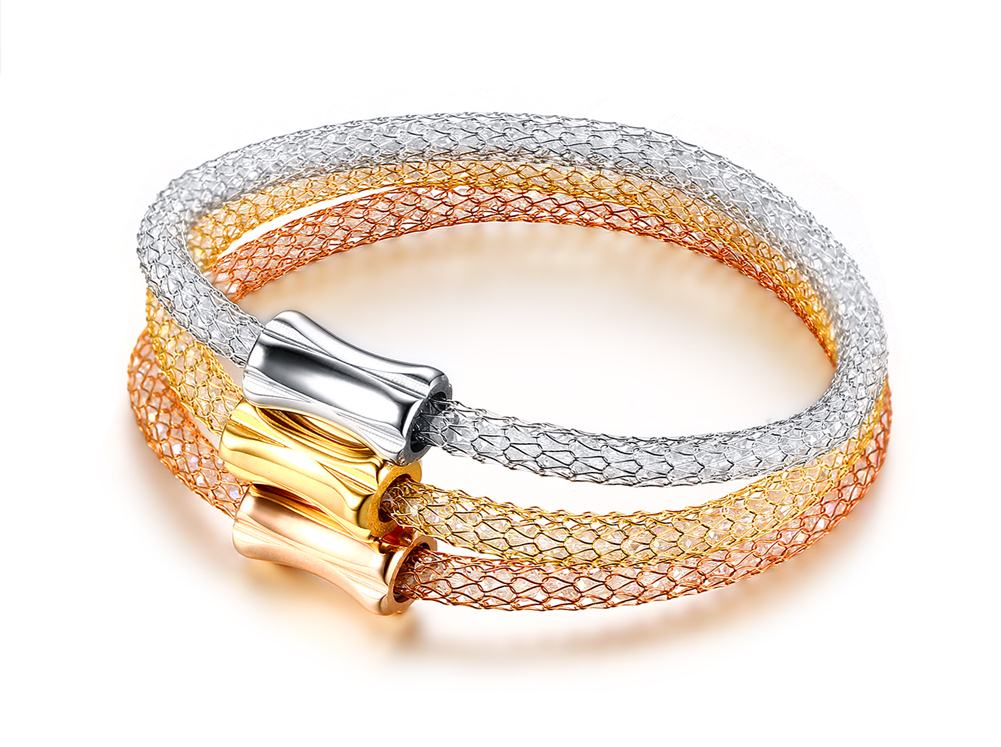 Bracelet - Elegant lady style in netted design with 3 colors in one set