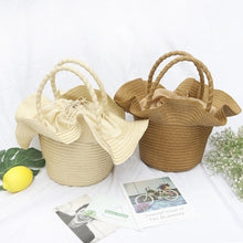 Load image into Gallery viewer, Fashion Ladies' bag - Flower Straw Tote  handbag in White Color