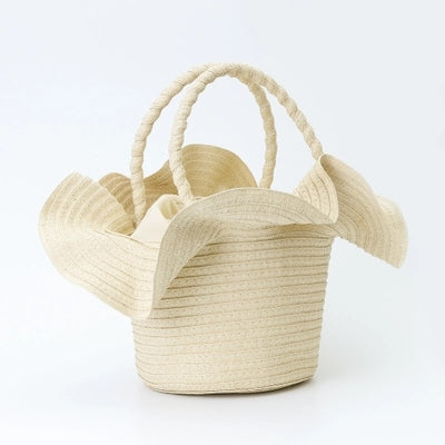Fashion Ladies' bag - Flower Straw Tote  handbag in White Color