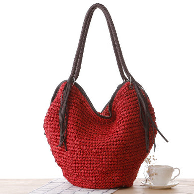 Fashion Ladies' bag - Fashion Ladies Tote woven straw Handmade Bag in Red Color