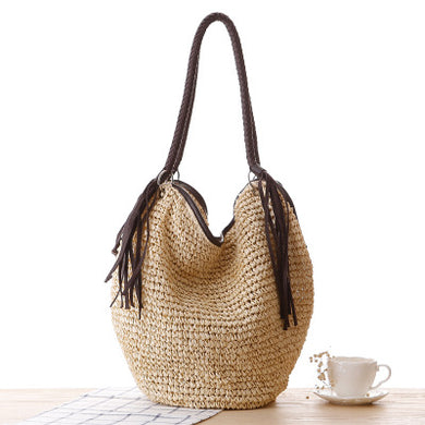 Fashion Ladies' bag - Fashion Ladies Tote woven straw Handmade Bag in Light Brown Color