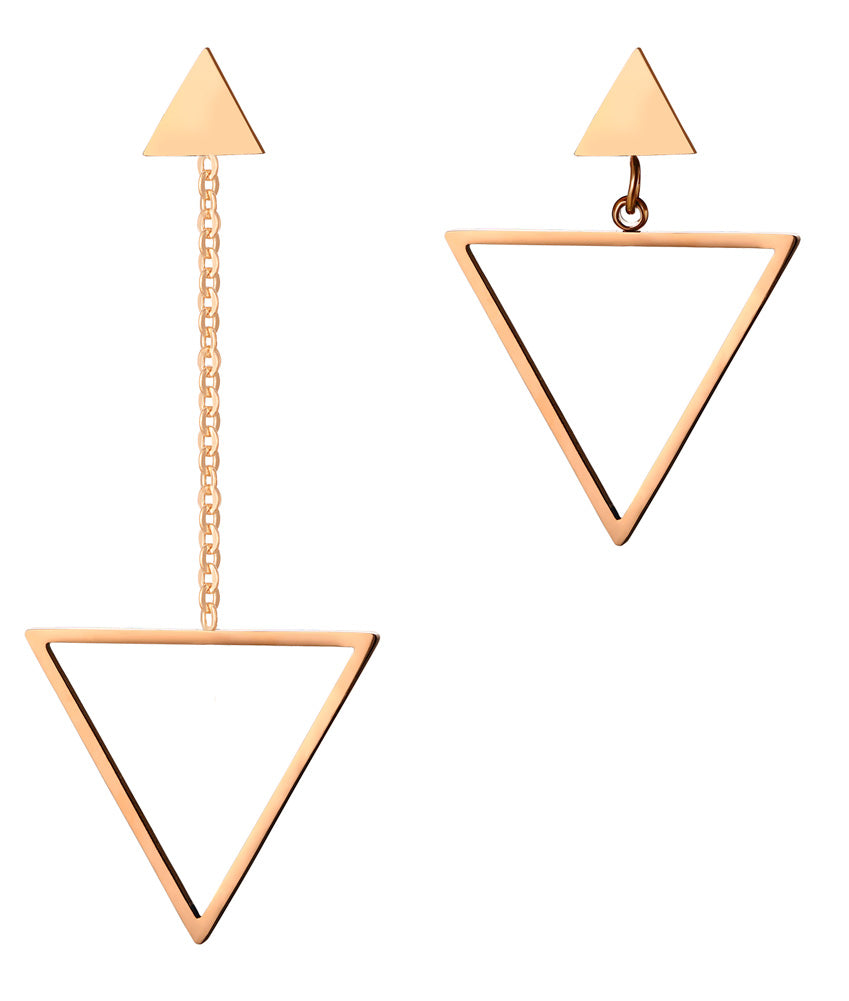 Earrings -Elegant & Fashion Triangle shape in rose gold color