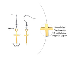 Earrings -Elegant earring Cross design  in gold color