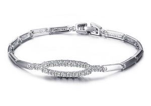 Bracelet - Modern Elliptical shape  with AAA cubic zirconia in white brass color