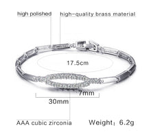 Load image into Gallery viewer, Bracelet - Modern Elliptical shape  with AAA cubic zirconia in white brass color