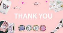 "Load image into Gallery viewer, Amore Jewell 1"" (500PCS/roll) THANK YOU Printing Adhesive Floral Roll Vinyl Waterproof Gift Label Sticker Cards Envelopes Seal 40 designs for selection"