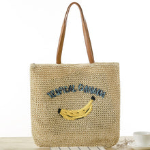 Load image into Gallery viewer, Fashion Ladies' bag - High quality Ladies Tote Banana embroidery weaving straw Handmade Bag