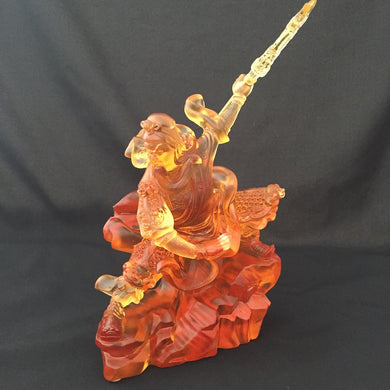 Amore Jewell Liuli Crystal Glass - Kwan Kong statue (Guan Gong - Guan Yu) in Amber color (Large) ~ 武關公