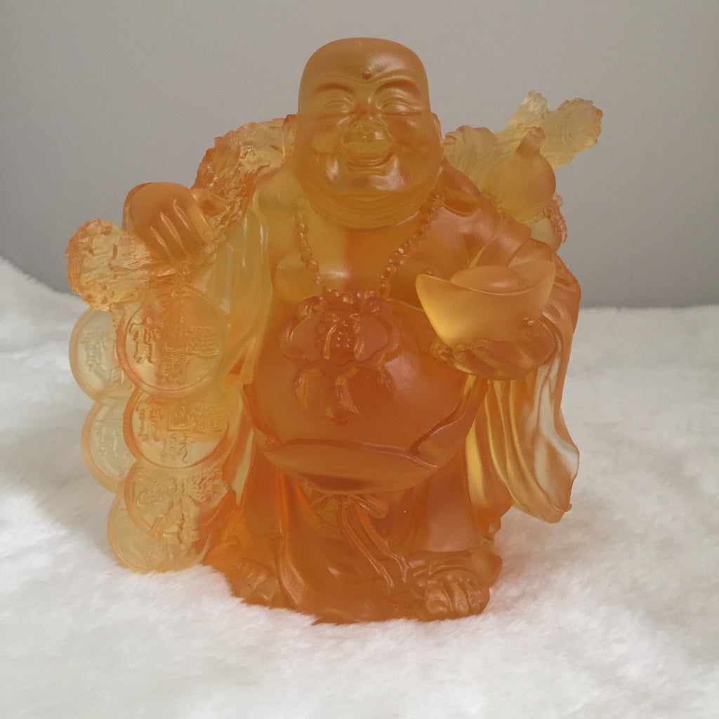 Amore Jewell Liuli Crystal Glass -  Laughing Buddha Statue bring gold bag