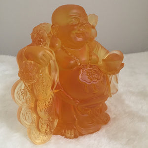 "Amore Jewell Liuli Crystal Glass -  Laughing Buddha Statue bring gold bag ""Maitreya Buddha""  in Amber color ~ 黃金袋彌勒佛"