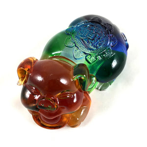Amore Jewell Liuli Crystal Glass - Ingots Pig ~ Pig hold Ingots ~ 元寶豬