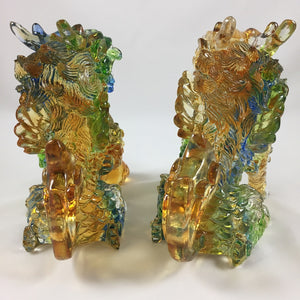 Amore Jewell Liuli Crystal Glass - New  Lucky Blessing Kirin Pair ~ 招財麒麟對